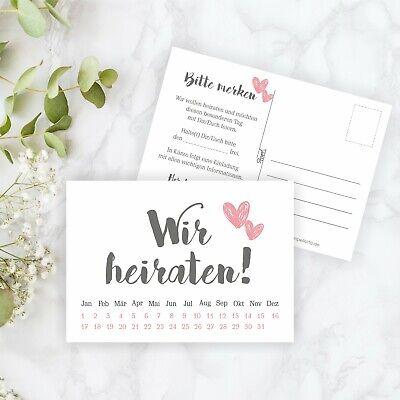 10x Save the Date Karte Wir heiraten grau rosa Hochzeit Vorankündigung Postkarte ()