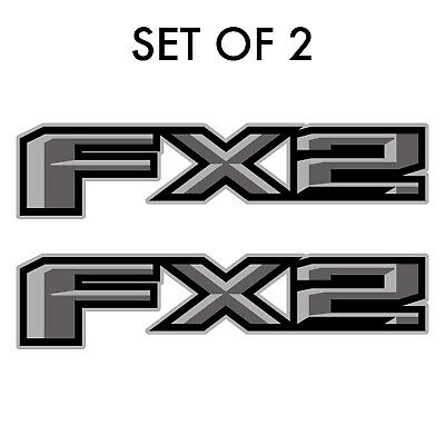 Set of 2: 2018 Ford F-150 FX2 off-road vinyl decal pickup truck side bed -silver