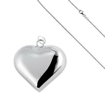 Schlangenkette + Herz Anhänger mit Klangkugel Kette Herzkette Liebe Geschenk