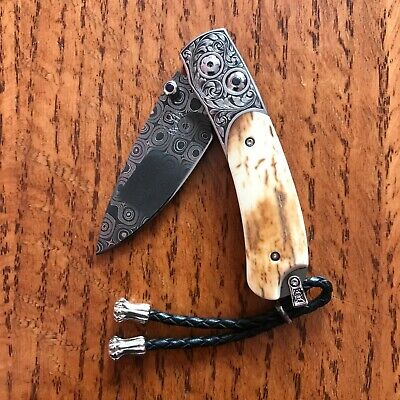 WILLIAM HENRY KNIFE B09 CHIMERA HAND ENGRAVED FOSSIL SAPPHIRES RETAIL $3225