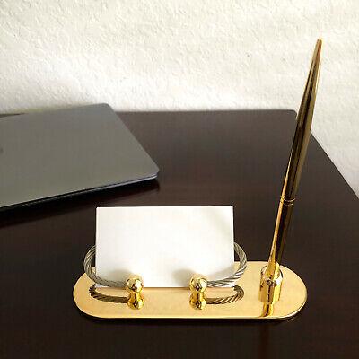 Vintage Gold Desktop Card Holder And Pen Office Desk Set Nib