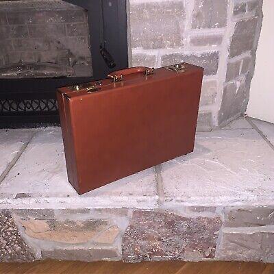 Superb Vintage Leather Miniature Attache Briefcase Mini Suitcase Style  C.1900