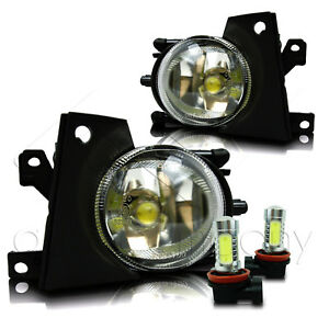 01-03 BMW E39 5-Series Bumper Fog Lights Lamps Pair w/COB LED Bulbs - Clear