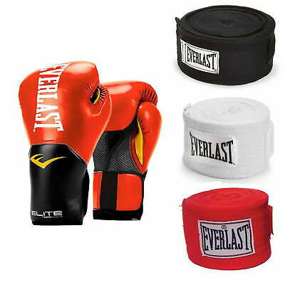 Everlast Boxing Gloves Size 14 Ounces, Red and 120 Inch Hand Wraps (3 Pack)