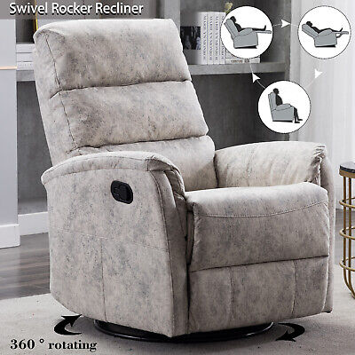 360° Swivel Rocker Recliner Chair Baby Nursery Thickened Back Glider Sofa Chair
