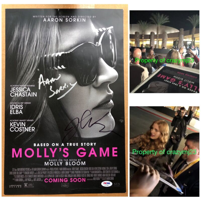 Jessica Chastain Aaron Sorkin Signed Poster Molly's Game Autograph PROOF PSA COA