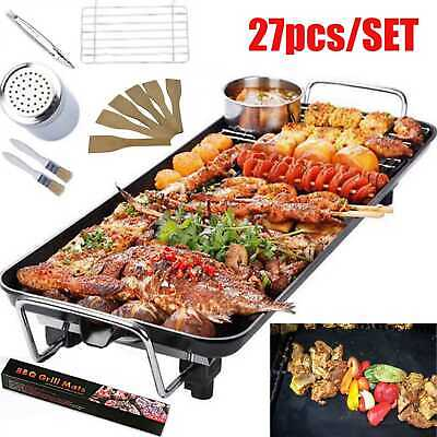1400W Electric BBQ Hot Plate Table Grill Griddle Barbecue Tools & Stick Mat Pads