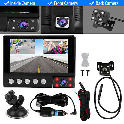 "4"" Touch Screen Car Camera Dual Dash Cam Front Rear Inside Night Vision G-sensor"