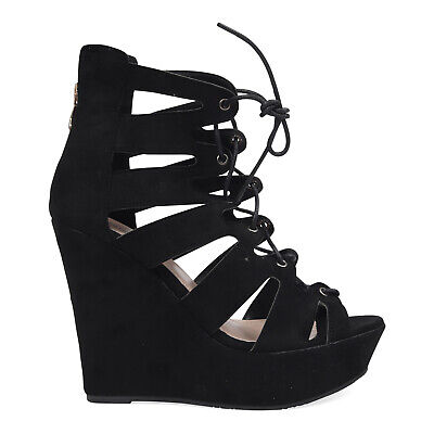 Faux Suede Summer Beach Gladiator Style Wedge Platform Heels Laces Womens 3-8 UK