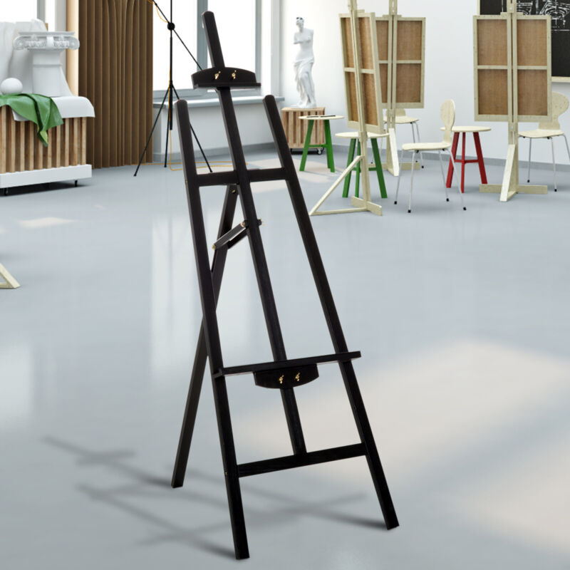 "55""H Beech Wood Adjustable Folding Art Easel Stand Painting Display Rack Black"