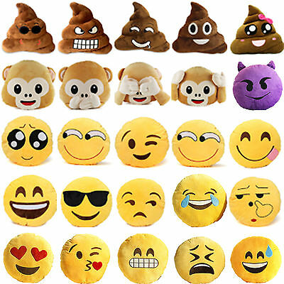 Funny Emoji Emoticon Monkey Soft Plush Pillow Cushion Stuffed Poo Round Doll Toy