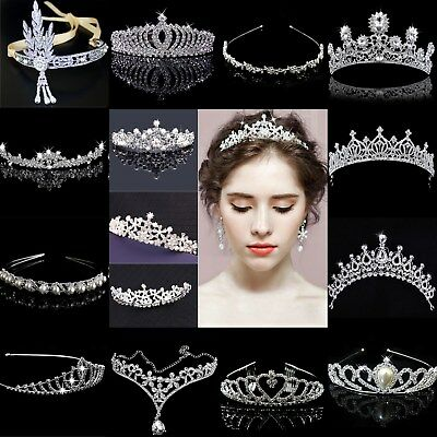 Bridal Wedding Crystal Flower Tiara Crown Pearl Rhinestone Hair  Headband NEW (Pearl Tiara)