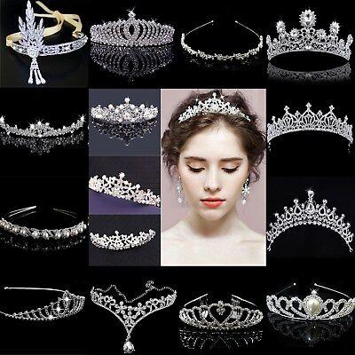 US Bridal Wedding Crystal Flower Tiara Crown Pearl Rhinestone Hair  Headband - Red Tiaras