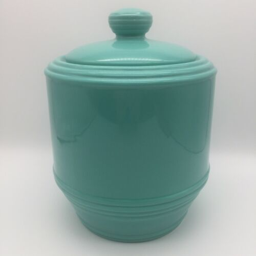"""CRACKER BARREL POTTERY Biscuit Cookie Jar 10"""" Tall Farmhouse Pioneer Turquoise"""