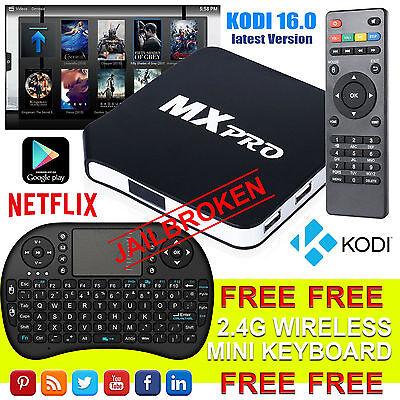 2017 MX Pro Android Box Quad Core  4.4 TV Media Player KODI M8S UK
