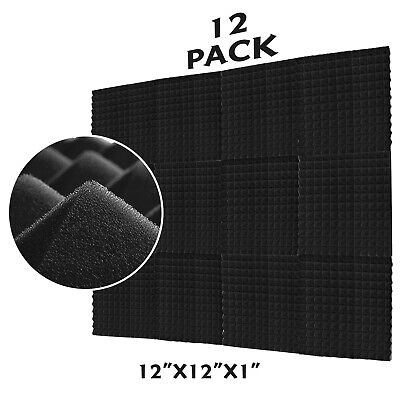 "12 Pack Acoustic Foam Panel Egg Crate Studio Soundproofing 12""X12""X1"" Wall Tiles"