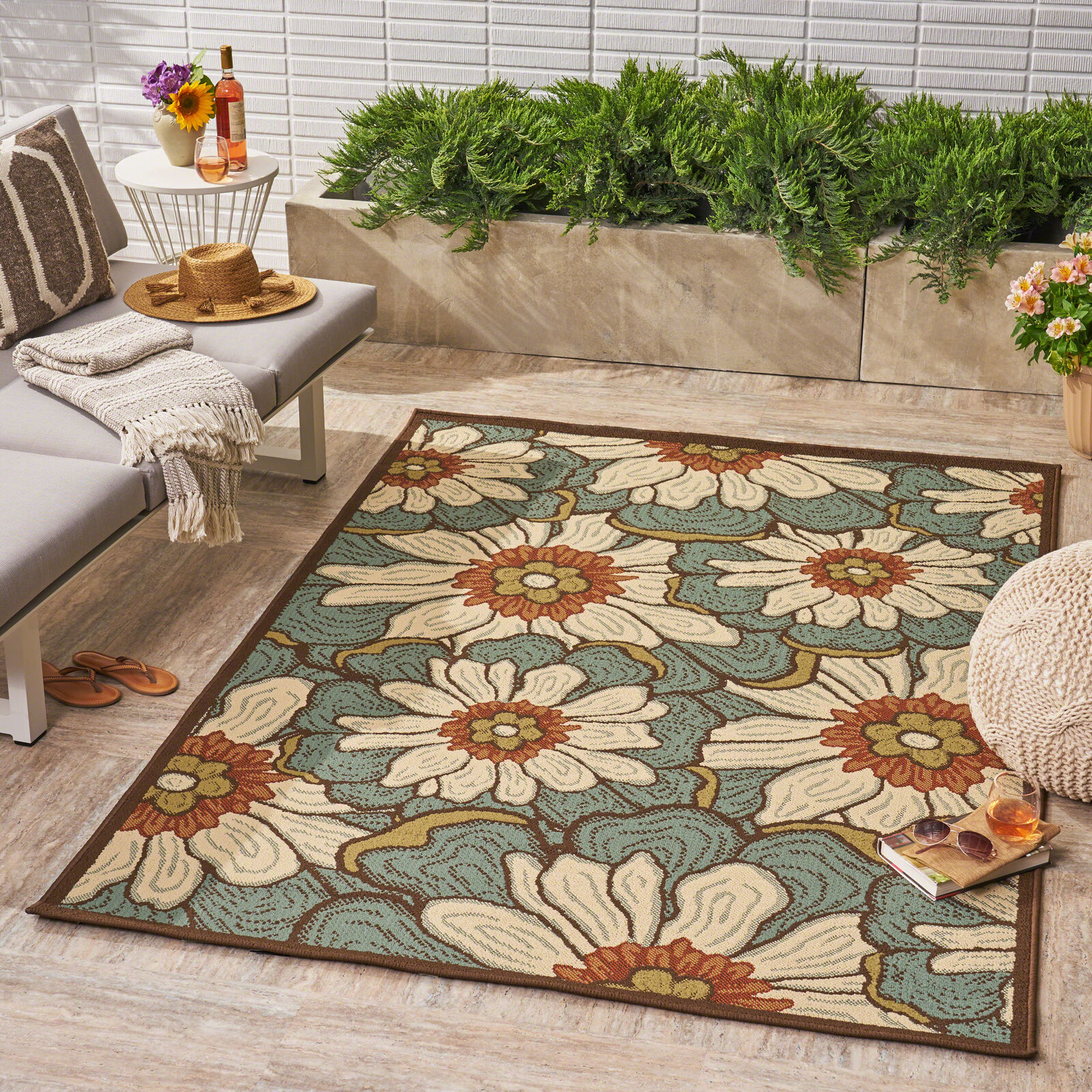 Orval Outdoor Floral Area Rug, Blue with Multicolor Area Rugs