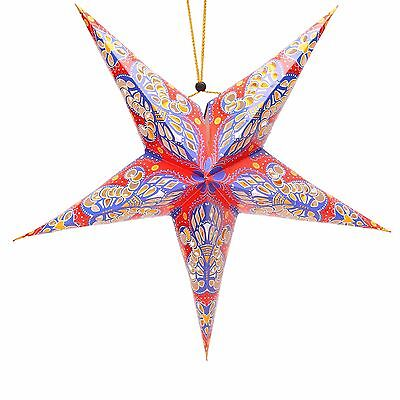 Bohemian Summer Garden Party Shabby Chic Star Hanging Decorations - Red & Purple