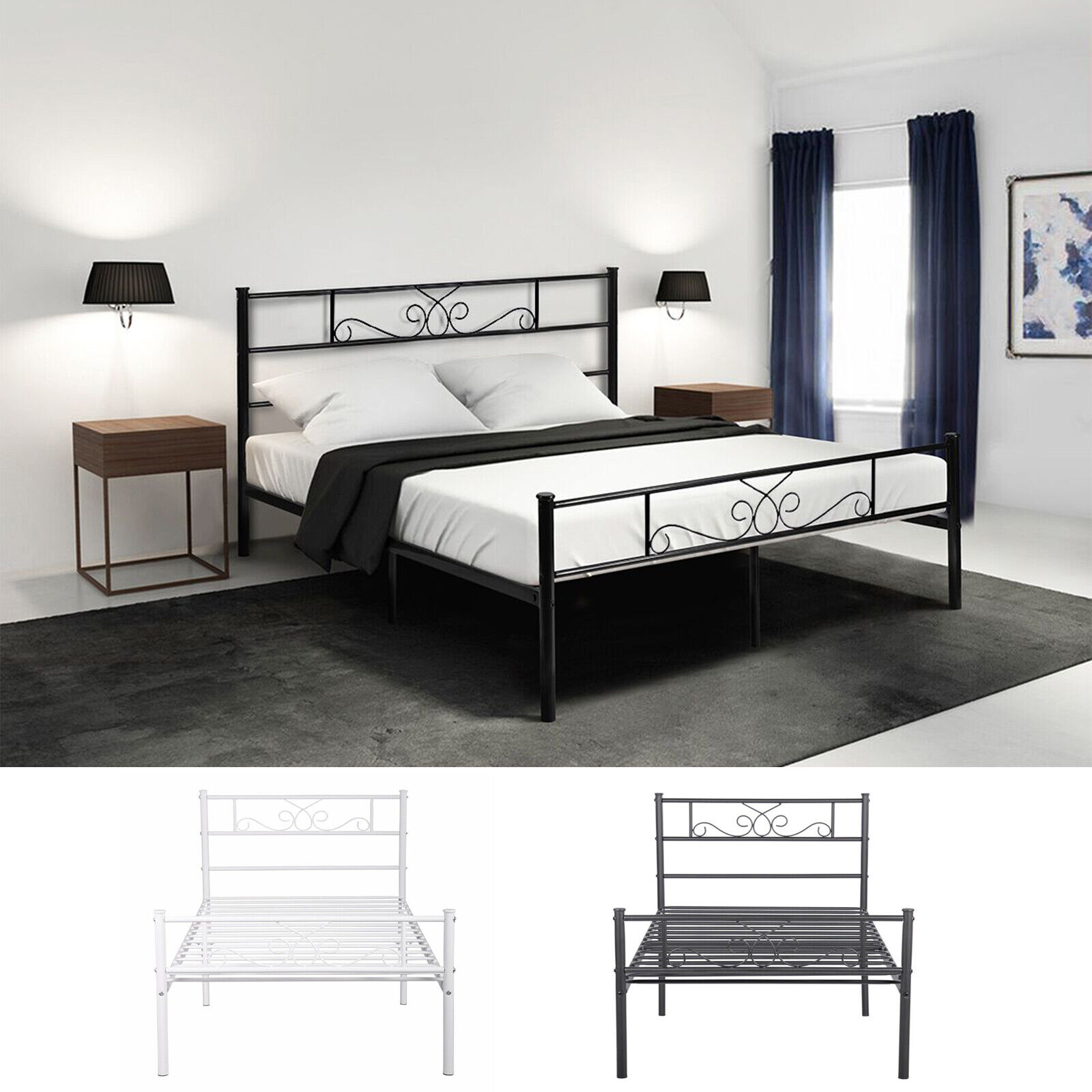 Twin Full Size Metal Bed Frame Platform Headboards Furniture