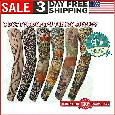 6 Pack Fake Temporary Tattoo Sleeve Full Arm Stocking Lifelike Body Art Costume Temporary Tattoo Pack