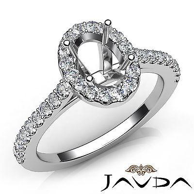 Oval Diamond Semi Mount Engagement U Shape Prong Set Ring 14k White Gold 0.5Ct ()