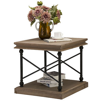 Glitzhome Vintage Farmhouse Accent End Table Solid Wood Home Sofa Side Furniture