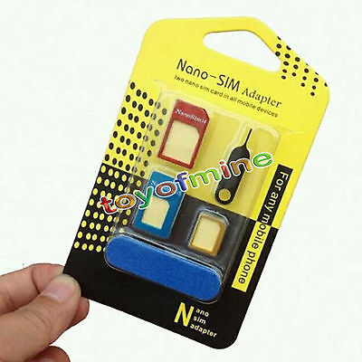 Universal 5 in 1 Nano Micro Mini Sim Card Adapter Converter Standard Sim FR