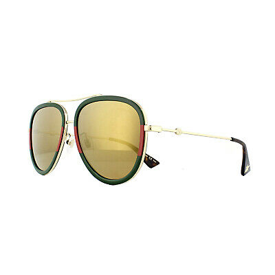 Gucci Sunglasses GG0062S 010 Gold Green and Red Gold Mirror