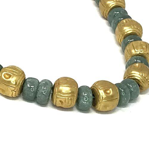 Vtg Beaded Choker Necklace Jade Gold Tone Brass? Primitive Tribal Boho Artisan