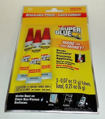 The Original Super Glue 3 2g Tubes Resealable Package