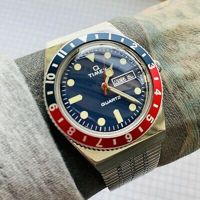 Q Timex Reissue, Pepsi Bezel, Blue Dial, Stainless Steel Bracelet Watch