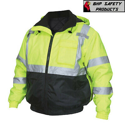 Hi-Vis Insulated Safety Bomber Reflective Jacket with Quilted Liner ROAD -
