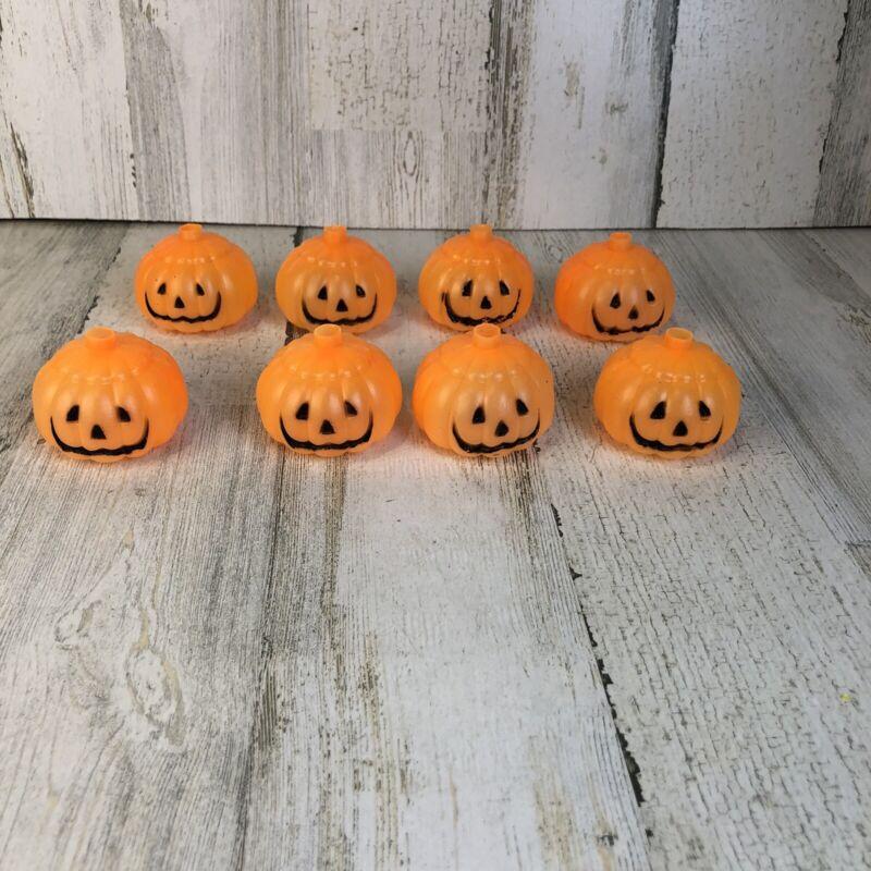 Set of 8 Vintage Jack O Lantern Pumpkin Blow Mold String Light Covers