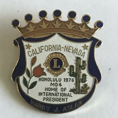 Older Lions Club International Pin MD 4 California Nevada- 1976 Honolulu