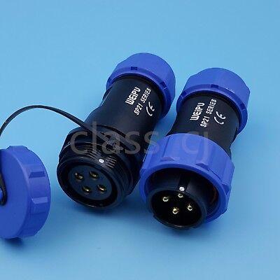 1set Sp21 4pin Waterproof Ip68 Cable Butt Circular Aviation Plug Connector