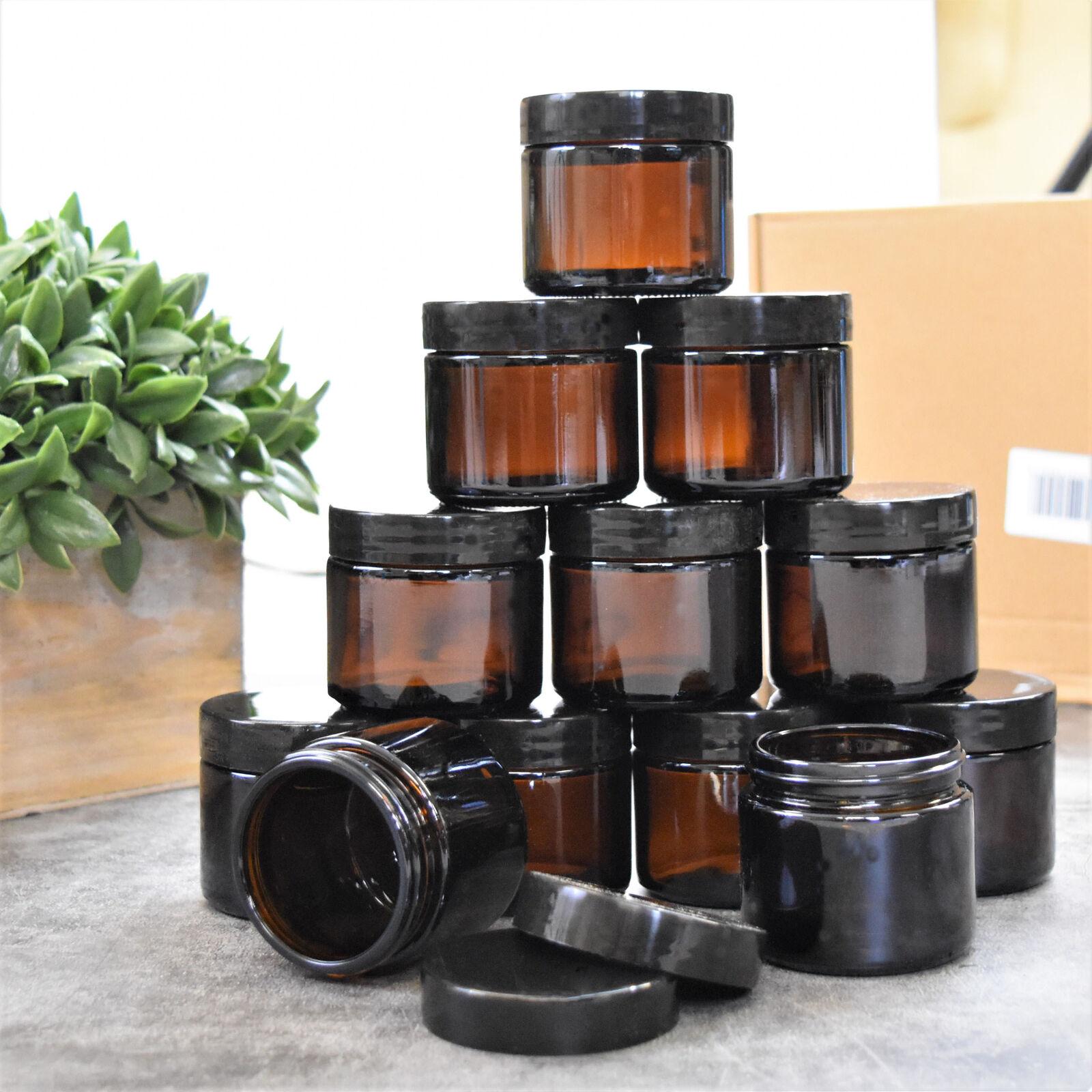 2 oz Round Amber Glass Jars - 12 Pack, Borsellic Glass, Dark
