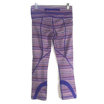Lululemon Size 4 Run Inspire Crop II Space Dye Twist Iris Flower Pink Capri EUC