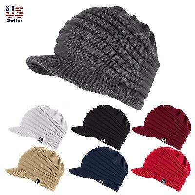 Unisex Winter Visor Beanie Knit Hat Cap Crochet Men Women Ski Thick Warm (Warm Winter Visor Cap)