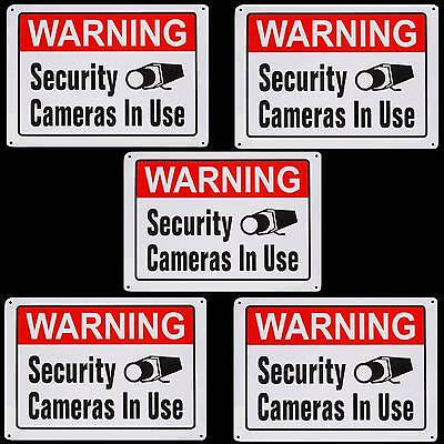 Metal Home Security Camera System In Use Burglary Warning Yard Tree Sign Lot