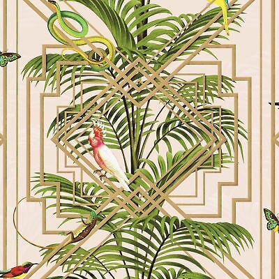 CONGO GEOMETRIC WALLPAPER PINK HOLDEN 90200 - PALM LEAVES BIRDS FEATURE WALL NEW
