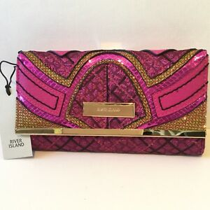 River Island Pink Shiny Panel Clasp Clip Top Coin Purse Photo Card Slots 720298