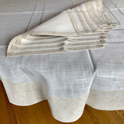 "Italian Linen Lace Tablecloth 70"" with 8 Napkins Portofino Italy Handmade"