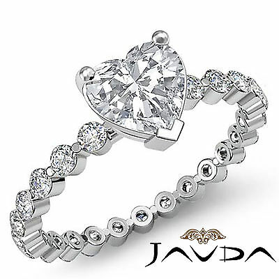 4 Prong Setting Heart Diamond Engagement Eternity Wedding Ring GIA F VS2 1.7 Ct