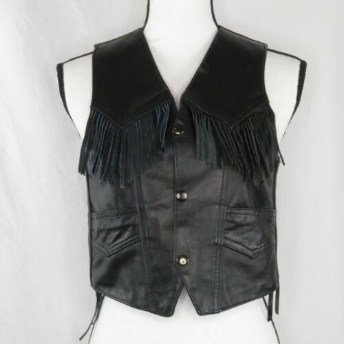 Genuine Leather Motorcycle Vest Fringed Kids Youth Black Snap Up Pockets Size XL