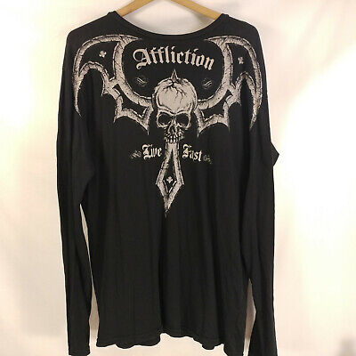 Mens Affliction Black 2 Sided Fitted Long Sleeve Thin T Shirt - Sz L 44