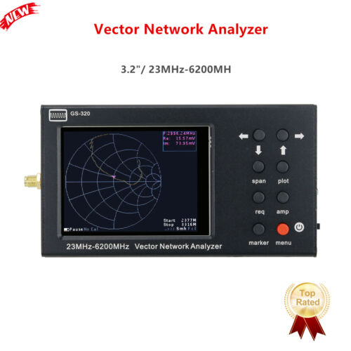 "GS-320 23MHz-6200MHz Vector Network Analyzer 6GHz NanoVNA 3.2"" Color Screen"