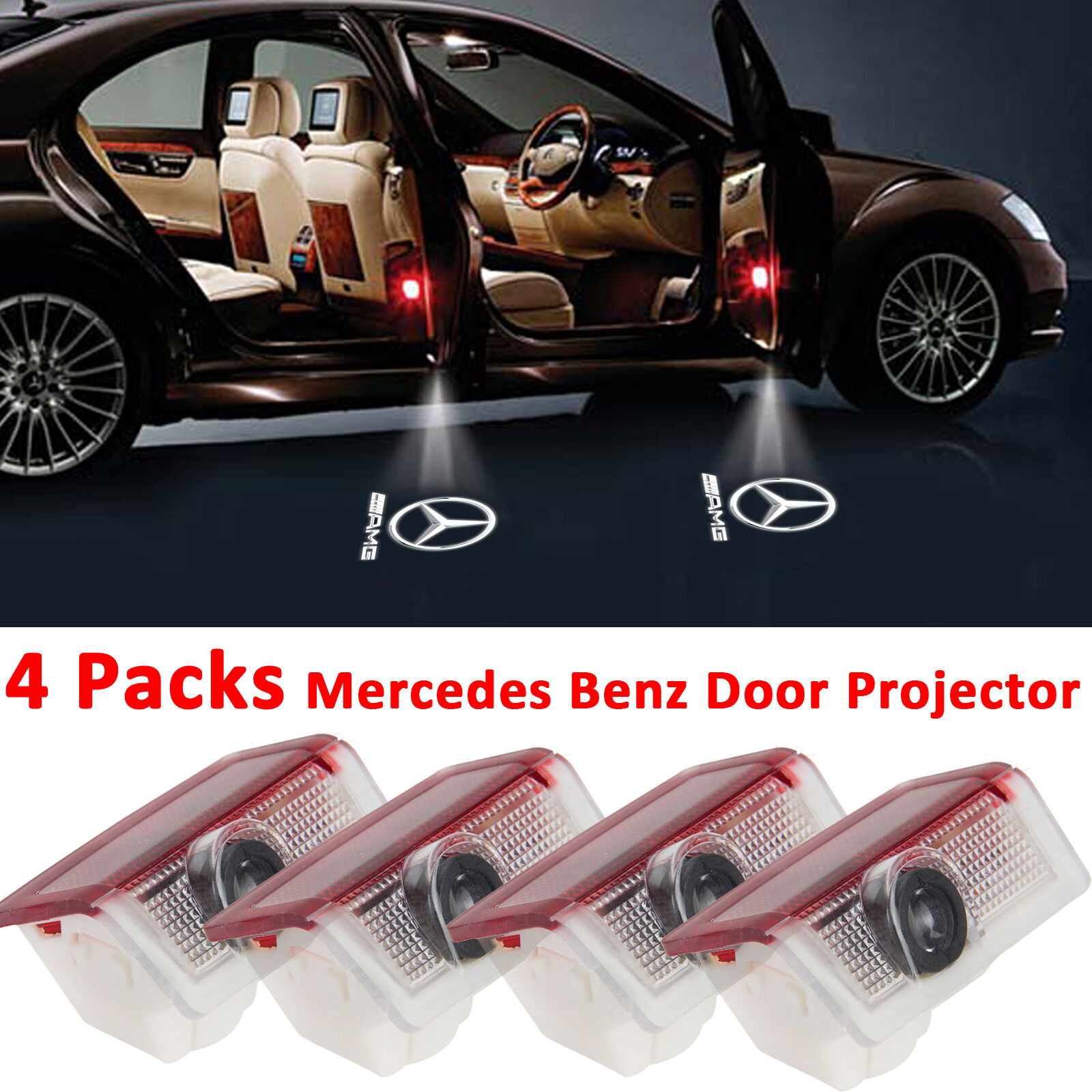 4 pack logo led door courtesy light laser projector for for Mercedes benz door lights