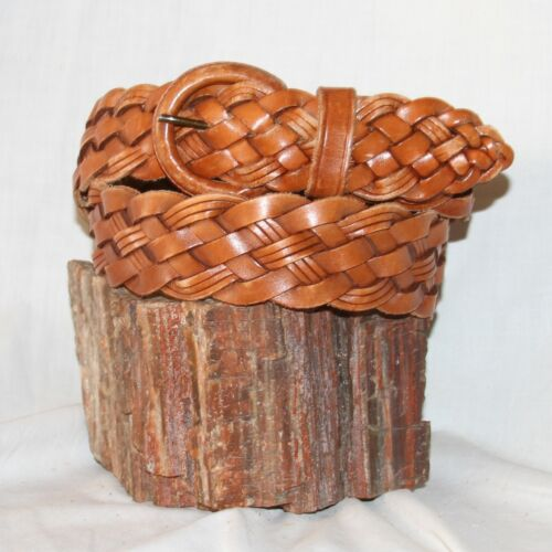 """Vintage Brighton braided Leather Belt size L 34 & 1¾"""" W leather covered buckle"""
