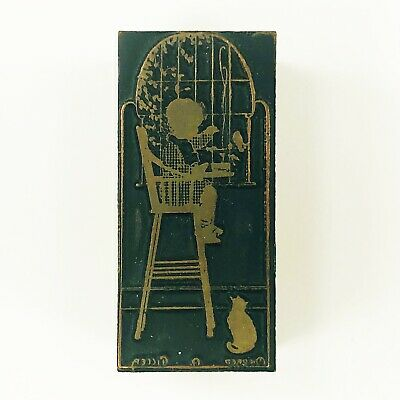 Vtg Wood Copper Baby In High Chair Cat Printers Block Printing Letterpress Stamp