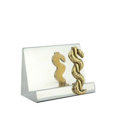 Business Card Holder Handmade Aluminum Brass Rod Of Asclepius Symbol Medicine